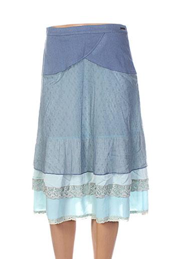 Jupe mi-longue bleu ALICE ET BARNABE pour femme