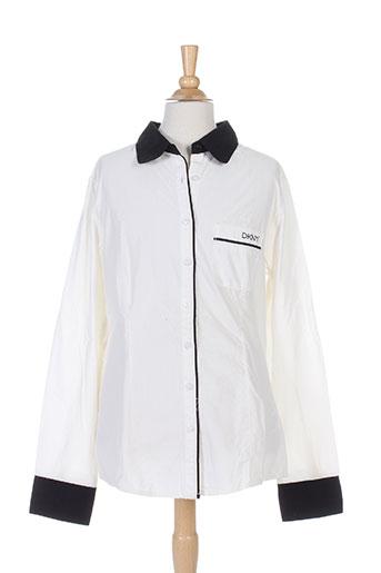 dkny chemises fille de couleur blanc