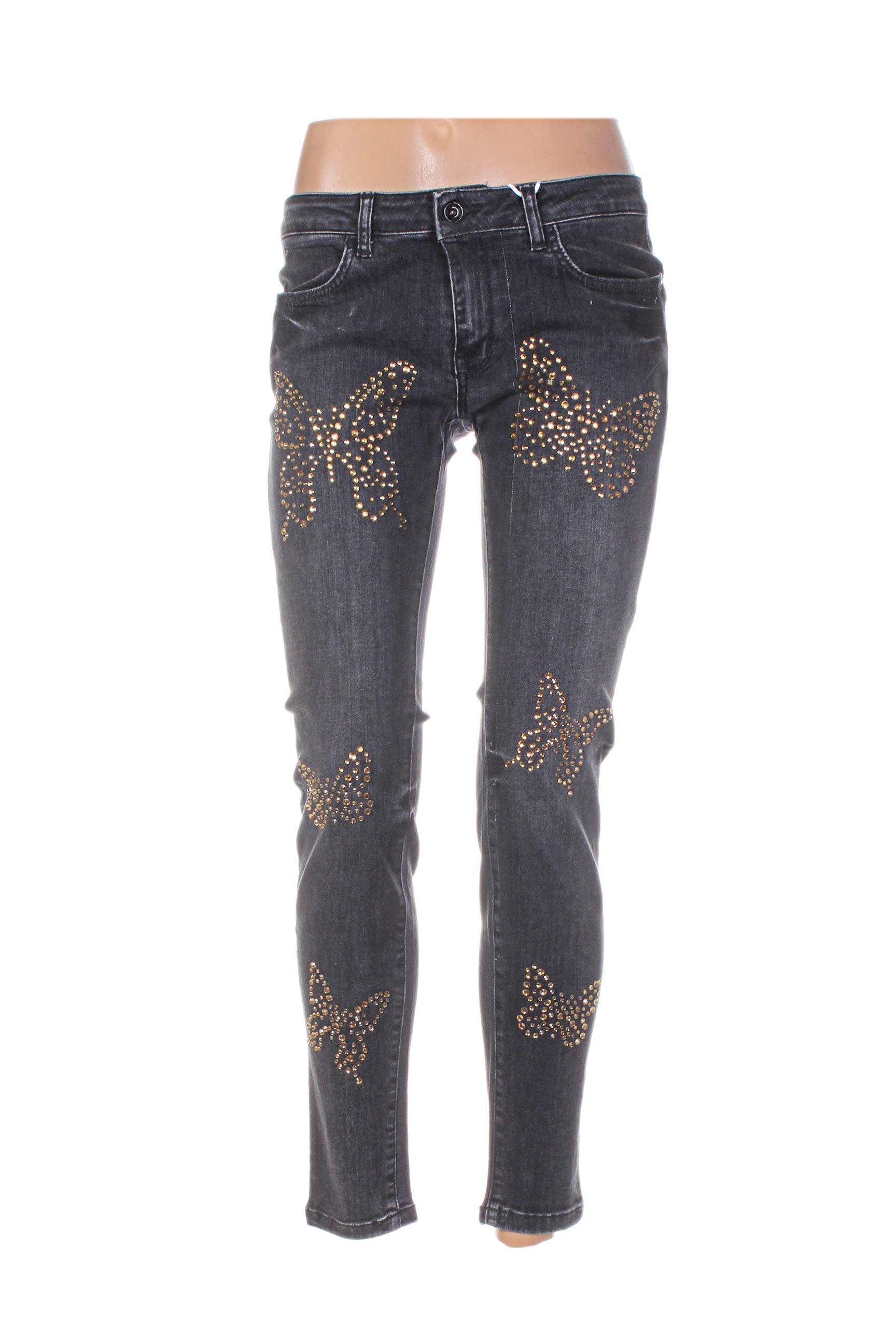 Rinascimento Jeans Coupe Droite Femme De Couleur Noir En Soldes Pas Cher 1088592-noir00 - Modz