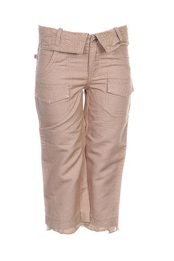 confetti pantalons fille de couleur beige