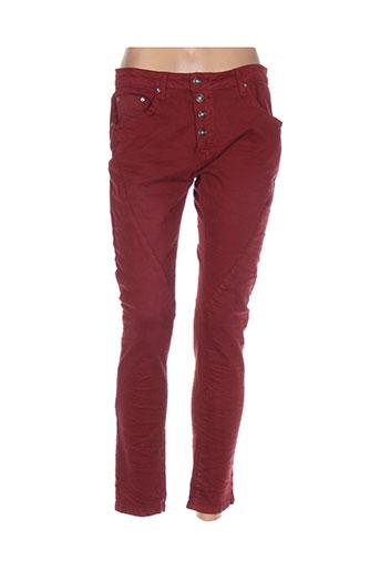 place du jour pantalons femme de couleur rouge