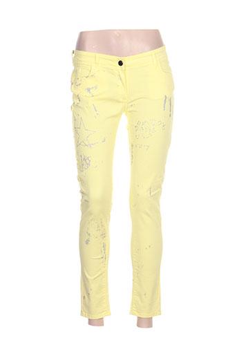 relish pantalons femme de couleur jaune