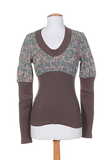 T-shirt manches longues marron IDEO pour femme