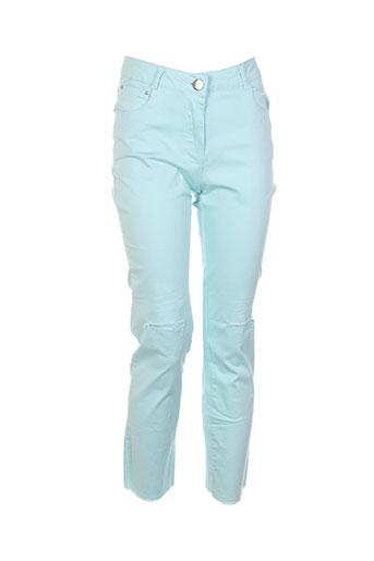 luizacco pantalons femme de couleur bleu