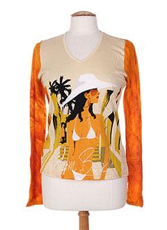 T-shirt manches longues orange CUSTO pour femme