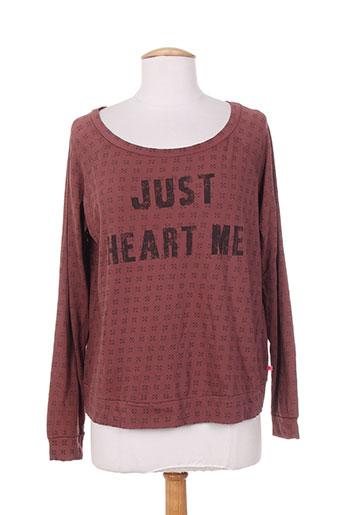 T-shirt manches longues rouge I LOVE MY T'S pour femme