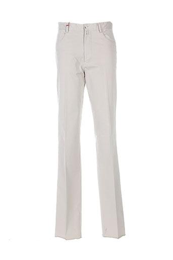 bernard zins pantalons homme de couleur beige