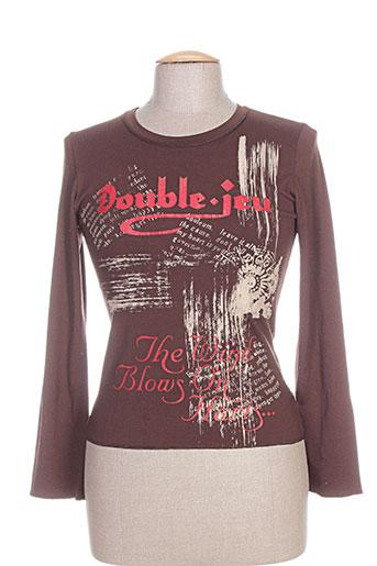 double jeu t-shirts femme de couleur marron
