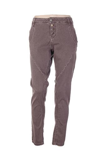 cream pantalons femme de couleur marron