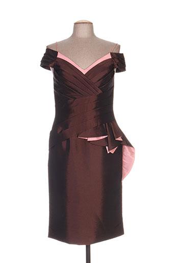 Robe mi-longue marron CREATIF PARIS pour femme