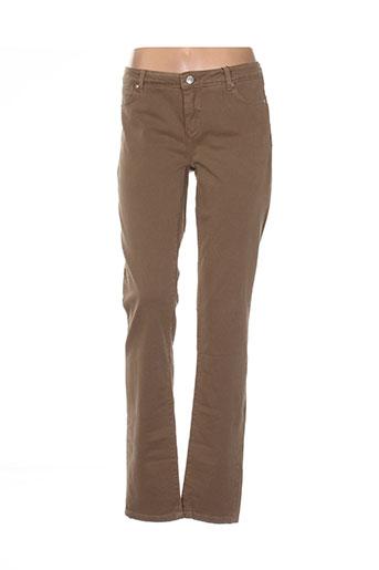 sportmax pantalons femme de couleur marron