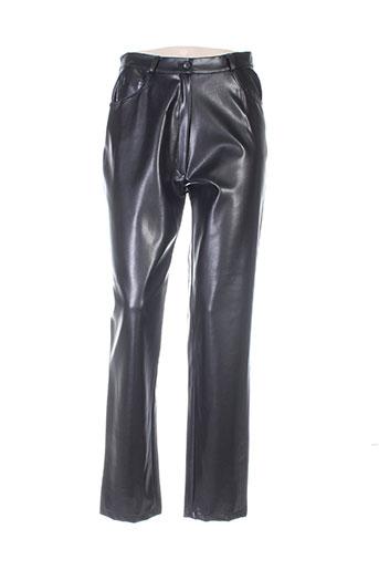 megan paris pantalons femme de couleur noir