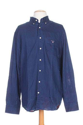 gant chemises homme de couleur bleu