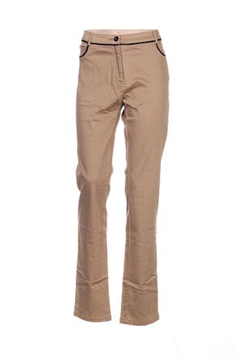 leslie pantalons femme de couleur beige