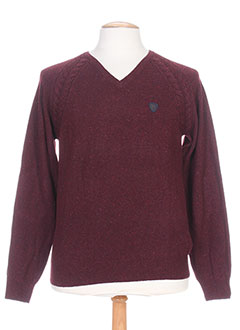 Pull col V rouge DANIEL JOSAL pour homme