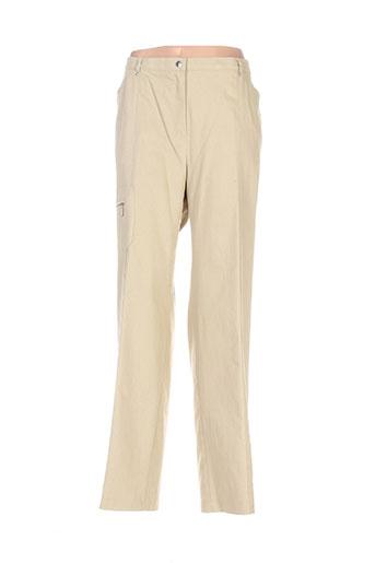 frank eden pantalons femme de couleur beige