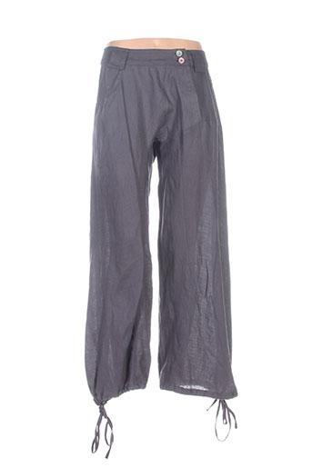 la stampa pantalons femme de couleur gris
