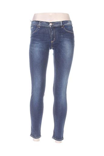 bones of glory jeans femme de couleur bleu