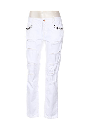 pois jeans femme de couleur blanc