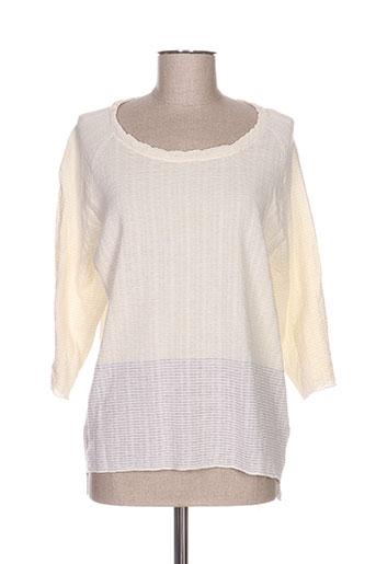 Pull tunique beige COLOR BLOCK pour femme