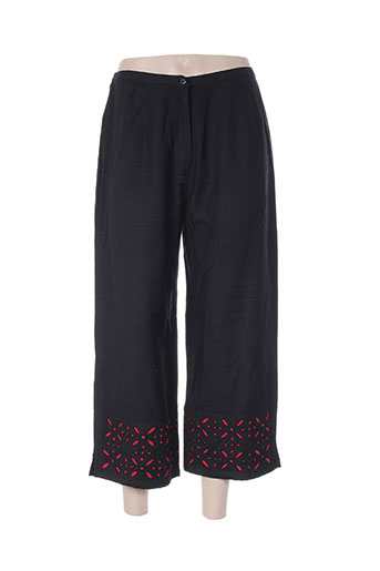ishwar pantalons femme de couleur noir