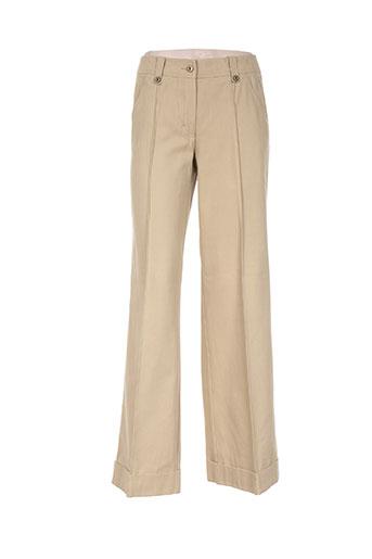 luisa cerano pantalons femme de couleur beige