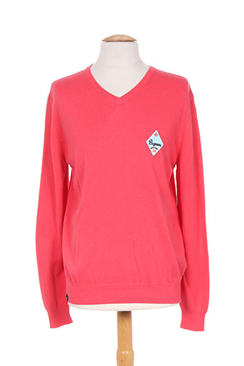 Pull col V rose CAMBE pour homme