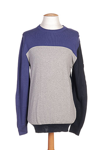 Pull col rond bleu CAMBE pour homme