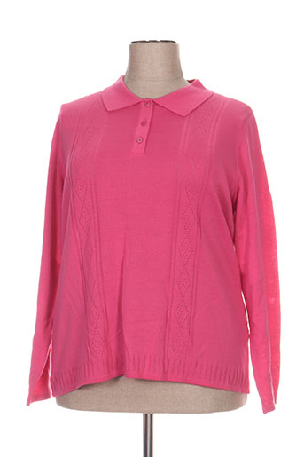 Pull col chemisier rose FIL & MAILLE pour femme