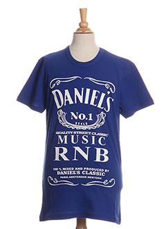 T-shirt manches courtes bleu DANIEL'S MUSIC pour homme