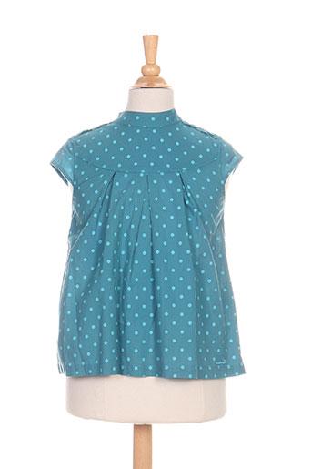 coudemail chemises fille de couleur bleu