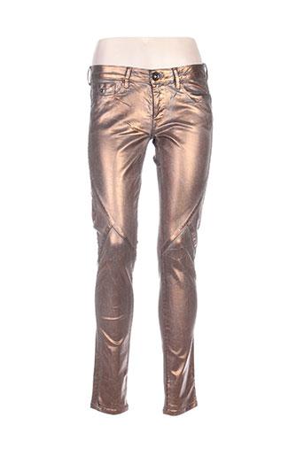 pepe jeans pantalons femme de couleur marron