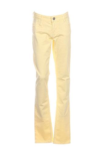 le temps des cerises pantalons fille de couleur jaune