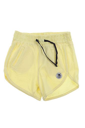 3 pommes shorts / bermudas fille de couleur jaune