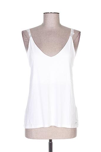 morgan t-shirts femme de couleur blanc