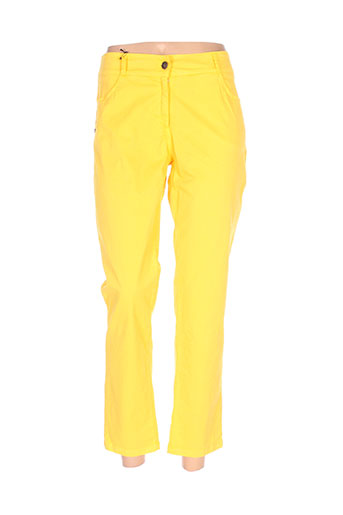 zeli pantalons femme de couleur jaune
