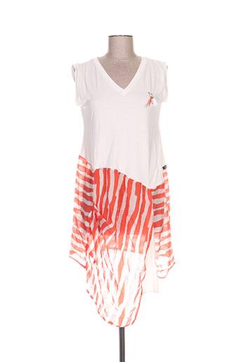 poissons blancs robes femme de couleur orange