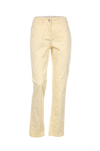 brandtex pantalons femme de couleur jaune