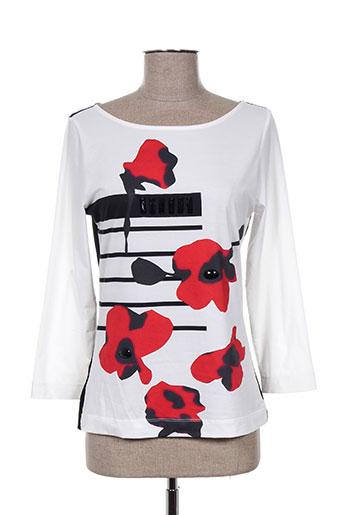 bleu blanc rouge t-shirts femme de couleur blanc