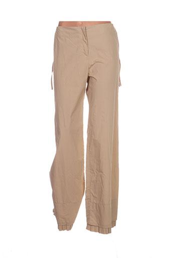 de la vega pantalons femme de couleur beige