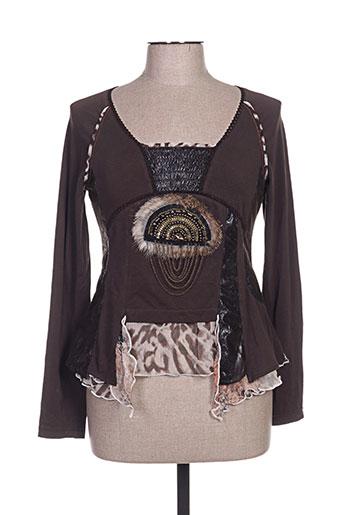 creative by t-shirts femme de couleur marron
