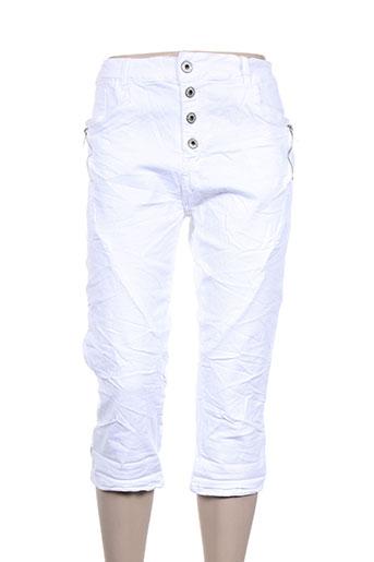 karostar pantacourts femme de couleur blanc
