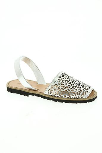 minorquines chaussures femme de couleur gris