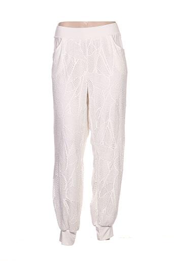 giani forte pantalons femme de couleur blanc