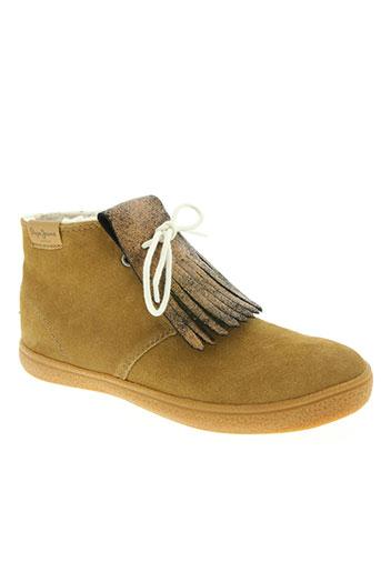 pepe jeans chaussures fille de couleur marron