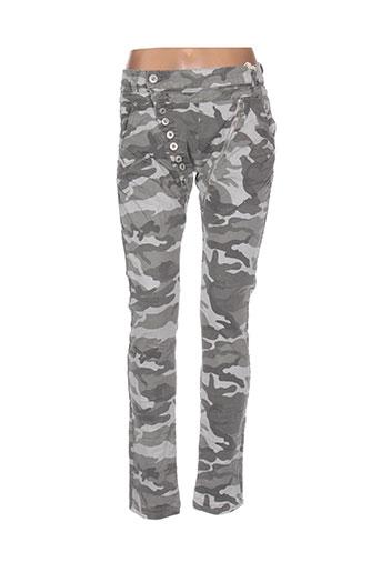 mozzaar pantalons femme de couleur gris