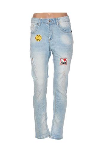 mozzaar jeans femme de couleur bleu