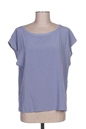 la stampa chemises femme de couleur bleu