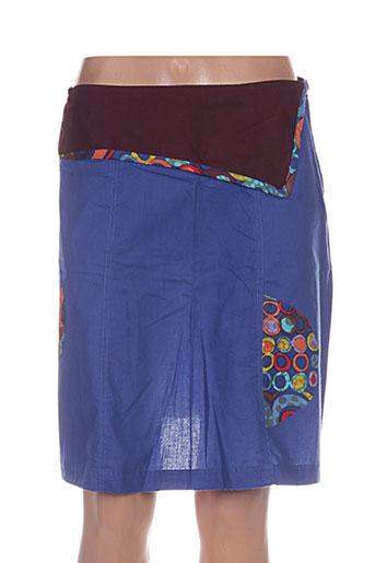 Jupe mi-longue bleu COLINE pour femme