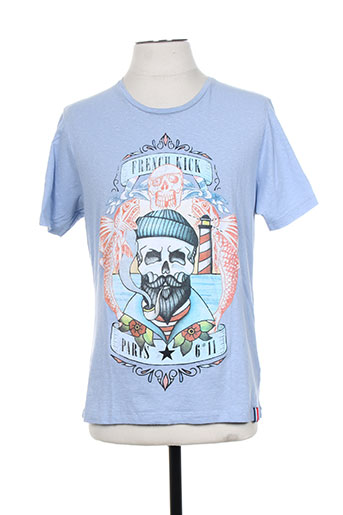 french kick t-shirts homme de couleur bleu
